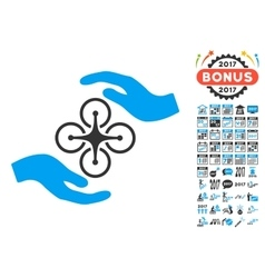 Air Copter Care Hands Icon With 2017 Year Bonus vector