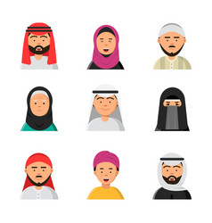 arab avatars islam muslim portraits of male and vector image
