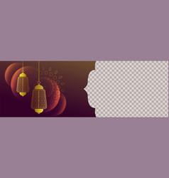 Arabic style banner with decorative lantern design vector