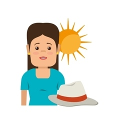 Avatar woman and summer hat vector