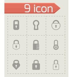 black locks icons set vector image vector image