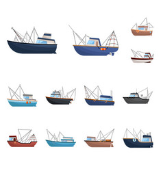 boat and fishing sign set vector image