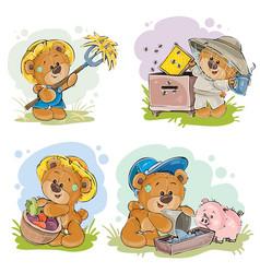 brown teddy bear farmer beekeeper vector image