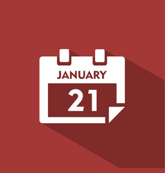 Calendar icon with shade on red background vector