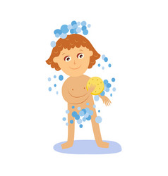 Cartoon girl kid washing isolated vector
