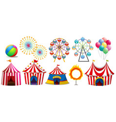 Circus tents and ferris wheels vector
