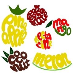 Colorful Fruit lettering set vector image