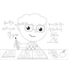 Coloring cartoon genius boy vector