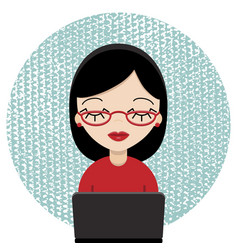 computergeek woman with laptop vector image