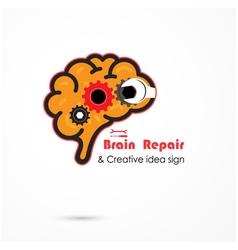 Creative brain repair abstract logo vector image
