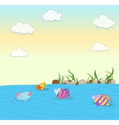 cute colorful fishes vector image