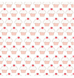cute cup cake seamless pattern vector image