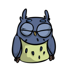 cute funny sleeping blue bird with closed eyes vector image