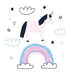 cute unicorn character with rainbow clouds stars vector image