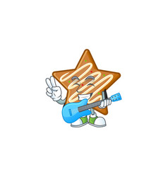Delicious star cookies with character with guitar vector
