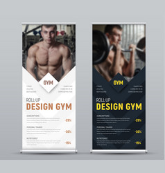 Design of vertical black and white roll-up banner vector