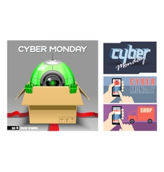 Digital cyber monday sale banner vector image
