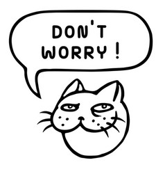 Dont worry cartoon cat head speech bubble vector