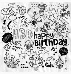 Doodle birthday party background hand draw vector