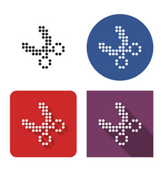 Dotted icon scissors in four variants with vector