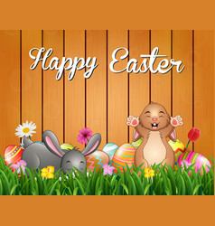 easter bunnies background with decorated egg on th vector image