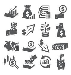 economy icons set on white background vector image
