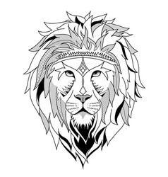 ethnic lion for etching or tattoo design vector image