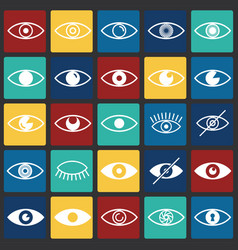 Eye icons set on color squares background for vector