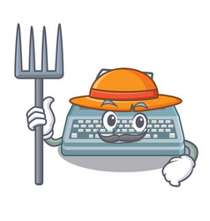 farmer typewriter toy on character wooden table vector image