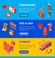 firefighter man and equipment banner horizontal vector image