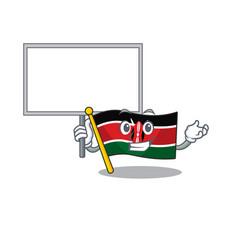 Flag kenya bring board cartoon with character vector