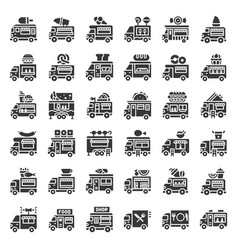 Food truck icon set solid style vector