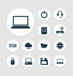 Gadget icons set collection of tree diskette vector