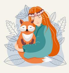 Girl and fox vector