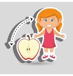 Girl cartoon fruit sliced apple vector