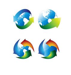 globe arrows set vector image