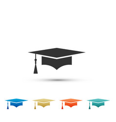 graduation cap icon isolated on white background vector image