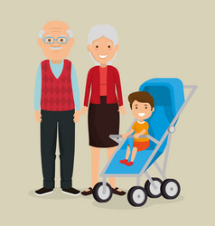Grandparents couple with baby avatars characters vector
