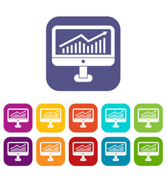 Growth graph on the computer monitor icons set vector