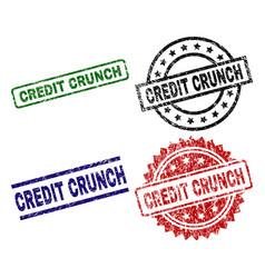 Grunge textured credit crunch seal stamps vector