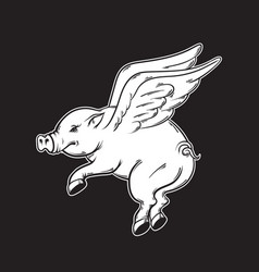hand drawn flying pig tattoo artwork template vector image