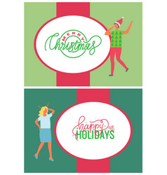 happy holidays merry christmas greeting cards set vector image