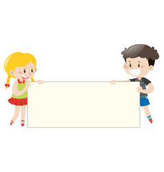 happy kids holding white board vector image