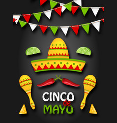 holiday background with collection mexican vector image