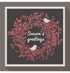 Holly wreath with two birds - Seasons greetings vector