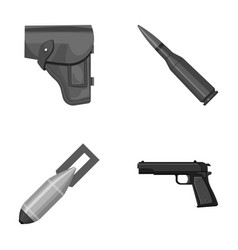 holster cartridge air bomb pistol military and vector image