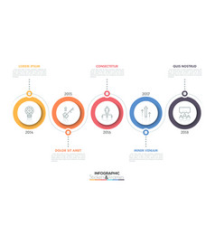 horizontal timeline with 5 circular elements thin vector image