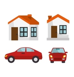 House insurance house car protection design vector