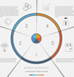 Infographic template on 5 positions vector