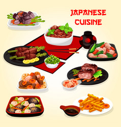 japanese cuisine dishes with meat veggies fish vector image